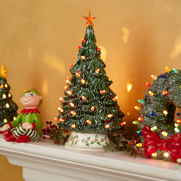 Mantle of Trees & Holiday Decor