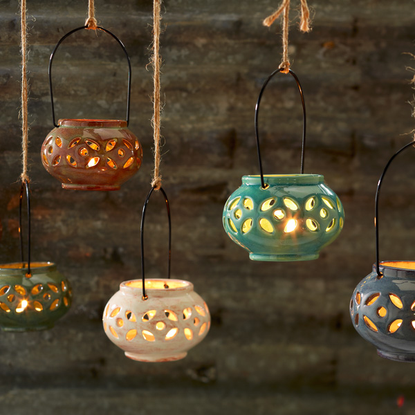 Hanging Lanterns with Pottery Glazes