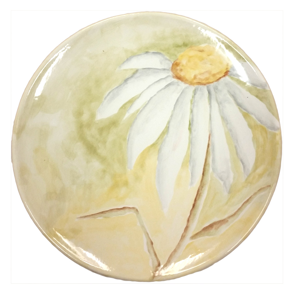 Watercolor Daisy Plate
