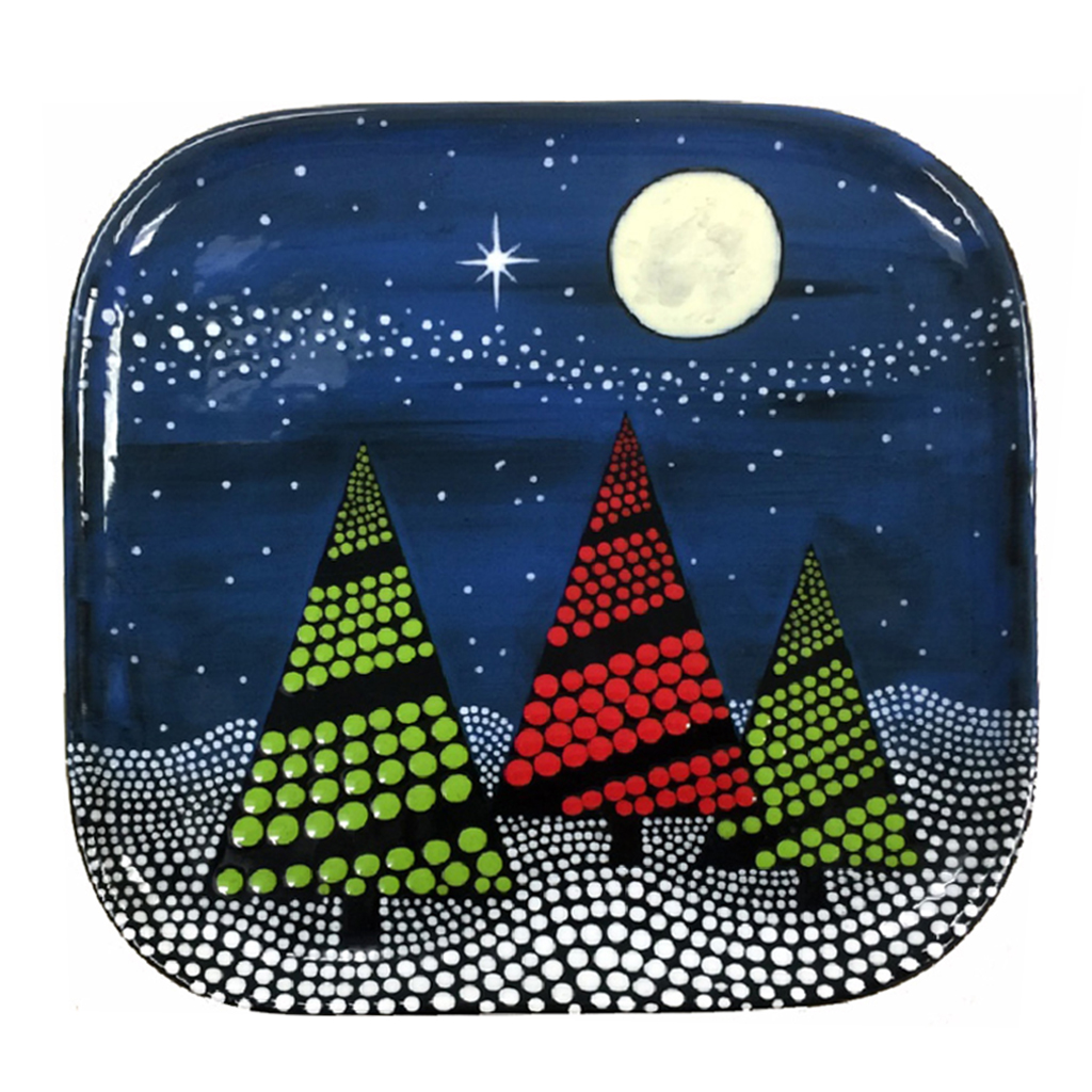 Doodle Dots Trees Plate